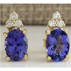 2.79 CTW Natural Blue Tanzanite And Diamond Earrings 18K Solid Yellow Gold