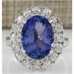 6.52 CTW Natural Blue Tanzanite And Diamond Ring 18K Solid White Gold