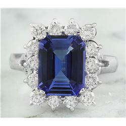 5.06 CTW Tanzanite 18K White Gold Diamond Ring