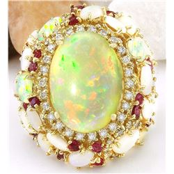 17.17 CTW Natural Opal, Ruby 18K Solid Yellow Gold Diamond Ring