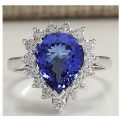 3.86 CTW Natural Blue Tanzanite And Diamond Ring 18K Solid White Gold