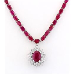 28.04 CTW Natural Ruby And Diamond Necklace In 14k White Gold