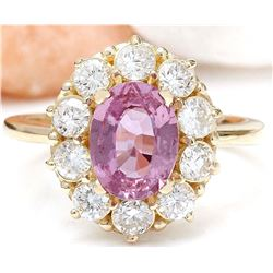 2.86 CTW Natural Sapphire 18K Solid Yellow Gold Diamond Ring
