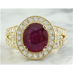 3.70 CTW Ruby 18K Yellow Gold Diamond Ring