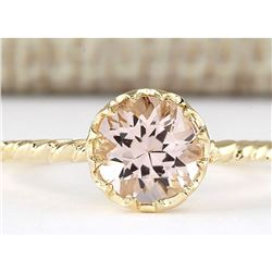 1.20 CTW Natural Morganite Ring In 14k Yellow Gold