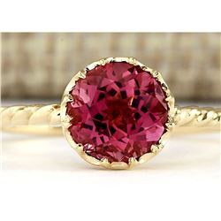 1.50 CTW Natural Pink Tourmaline Ring In 14k Yellow Gold