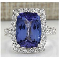 6.74 CTW Natural Blue Tanzanite And Diamond Ring In 18K White Gold