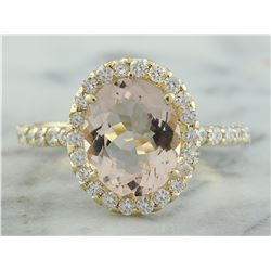 3.01 CTW Morganite 14K yellow Gold Diamond Ring
