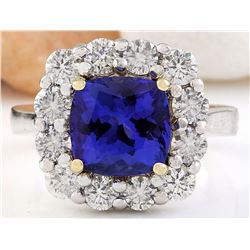 5.98 CTW Natural Tanzanite 18K Solid Two Tone Gold Diamond Ring