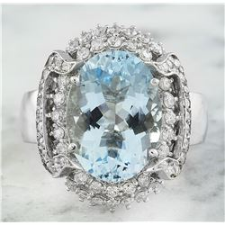 6.32 CTW Aquamarine 18K White Gold Diamond Ring