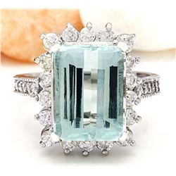 7.43 CTW Natural Aquamarine 14K Solid White Gold Diamond Ring