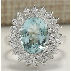 7.03 CTW Natural Aquamarine And Diamond Ring In 18K Solid White Gold