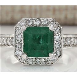3.32 CTW Natural Emerald And Diamond Ring In 18K White Gold