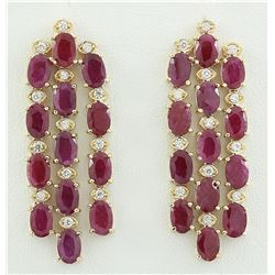 15.12 CTW Ruby 18K Yellow Gold Diamond Earrings