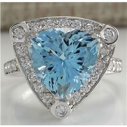 4.73 CTW Natural Aquamarine And Diamond Ring In 18K Solid White Gold