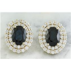 3.70 CTW Sapphire 18K Yellow Gold Diamond Earrings