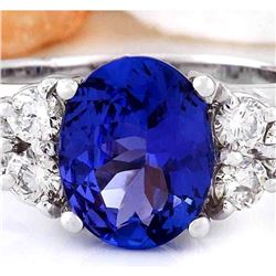 3.01 CTW Natural Tanzanite 18K Solid White Gold Diamond Ring