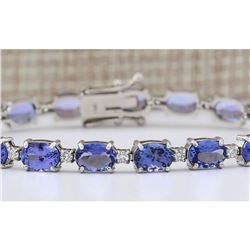 20.30 CTW Natural Tanzanite And Diamond Bracelet In 18K Solid White Gold