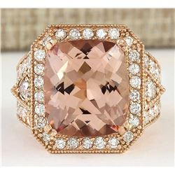 12.34 CTW Natural Morganite And Diamond Ring In 18K Rose Gold