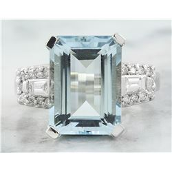 7.90 CTW Aquamarine 18K White Gold Diamond Ring