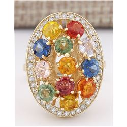 5.72 CTW Natural Ceylon Sapphire And Diamond Ring In 14k Yellow Gold