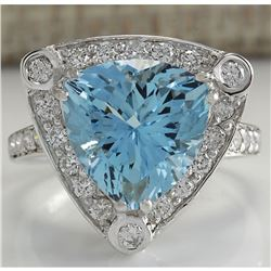 4.73 CTW Natural Aquamarine And Diamond Ring In 14K Solid White Gold