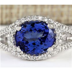 4.86 CTW Natural Blue Tanzanite And Diamond Ring 18K Solid White Gold