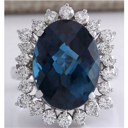 12.99CTW Natural London Blue Topaz And Diamond Ring In18K Solid White Gold