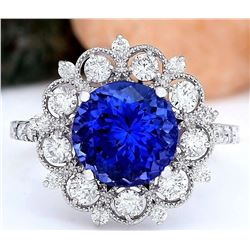 5.18 CTW Natural Tanzanite 18K Solid White Gold Diamond Ring
