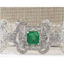 12.0 CTW Natural Colombian Emerald And Diamond Bracelet In 14K White Gold