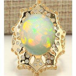 8.92 CTW Natural Opal And Diamond Ring In 18K Yellow Gold