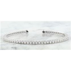 1.46 CTW Diamond 18K White Gold Bangle Bracelet