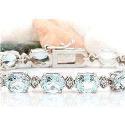 25.75 CTW Natural Aquamarine 14K Solid White Gold Diamond Bracelet