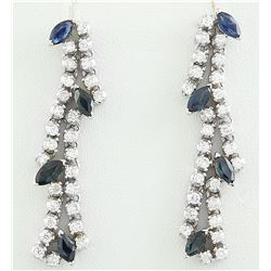 3.20 CTW Sapphire 14K White Gold Diamond earrings