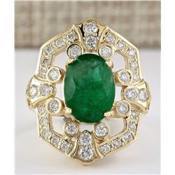 6.00 CTW Natural Emerald And Diamond Ring In 18K Yellow Gold