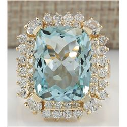 9.51 CTW Natural Aquamarine And Diamond Ring 14K Solid Yellow Gold