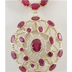 48.75 CTW Natural African Ruby And Diamond Necklace In 14K Yellow Gold