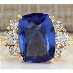 5.31 CTW Natural Tanzanite And Diamond Ring In 18K Yellow Gold