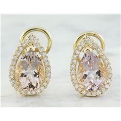 4.30 CTW Morganite 14K Yellow Gold Diamond Earrings