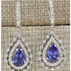 5.27 CTW Natural Tanzanite And Diamond Earrings 14K Solid White Gold