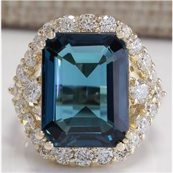 15.70CTW Natural London Blue Topaz And Diamond Ring In14K Solid Yello Gold