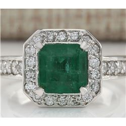3.32 CTW Natural Emerald And Diamond Ring In 14K White Gold