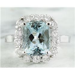 4.55 CTW Aquamarine 14K White Gold Diamond Ring