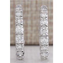 2.60 CTW Natural Diamond Hoop Earrings 18K Solid White Gold