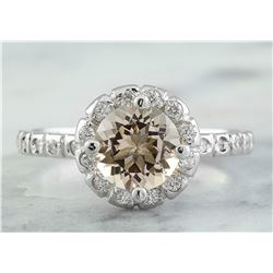 1.34 CTW Morganite 18K White Gold Diamond Ring