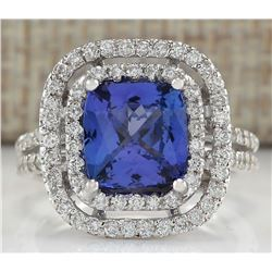 3.93 CTW Natural Blue Tanzanite And Diamond Ring In 18K Solid White Gold
