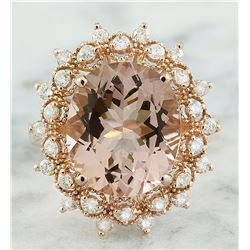 6.01 CTW Morganite 14K Rose Gold Diamond Gold Ring