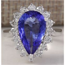4.13 CTW Natural Blue Tanzanite And Diamond Ring In 14K Solid White Gold