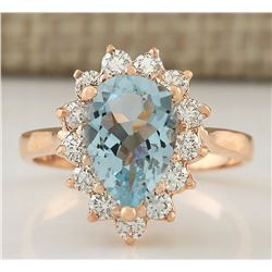 2.31 CTW Natural Aquamarine And Diamond Ring In 18K Solid Rose Gold