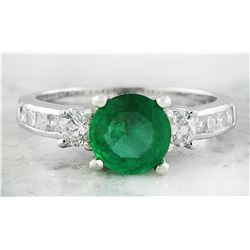 1.98 CTW Emerald 18K White Gold Diamond Ring